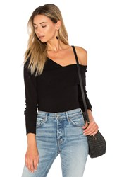525 America Asymmetric One Shoulder Sweater Black
