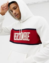 Abercrombie And Fitch Chest Stripe Logo Hoodie In White Red White Red Stripe