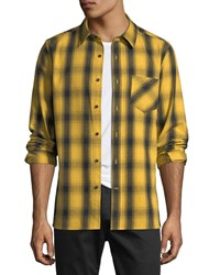 Ovadia And Sons Max Plaid Cotton Sport Shirt Gold