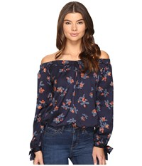 Brigitte Bailey Daysie Long Sleeve Floral Off The Shoulder Top Navy Red Women's Clothing Multi