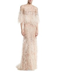 Monique Lhuillier Beaded Ostrich Feather Gown Blush Pink