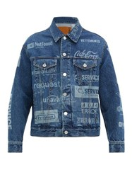 Vetements Error Print Denim Jacket Blue