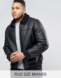 Barney's Barneys Plus Faux Leather Bomber With Borg Collar Jacket Black
