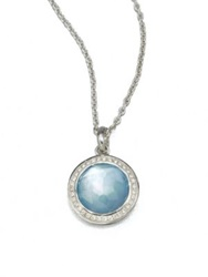 Ippolita Stella Swiss Blue Topaz Mother Of Pearl Diamond And Sterling Silver Lollipop Doublet Pendant Nec Silver Blue