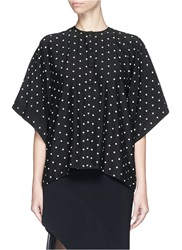 Givenchy Rubber Cross Print Silk Satin Oversized Top Black