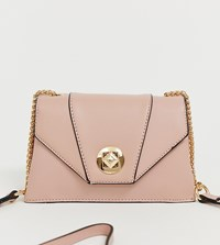 Oasis Cross Body Bag With Clasp In Pink Cream
