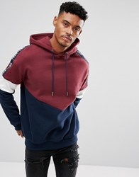Your Turn Yourturn Oversized Sweatshirt In Burgundy With Contrast Panels Black