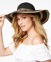 Inc International Concepts I.N.C. Woven Stripe Floppy Hat Created For Macy's Black