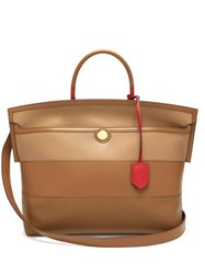 Burberry Society Leather Tote Bag Tan Multi