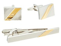 Stacy Adams Stripe Cuff Link And Tie Bar Set Silver Gold Cuff Links