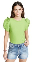 Moon River Ruched Tee Lime