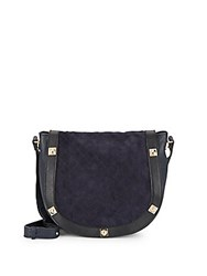 Robert Graham Sadie Quilted Leather And Suede Studded Shoulder Bag Midnight