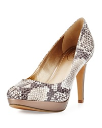 Circa Joan And David Pearly Snake Embossed Two Tone Pump Naturale