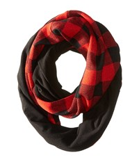 Plush Fleece Lined Plaid Infinity Scarf Black White Scarves