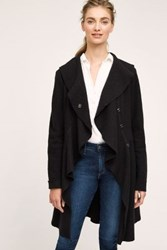 Anthropologie Ruffled Wool Sweater Coat Black