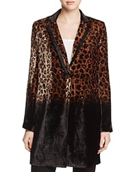 Elie Tahari Pam Cheetah Print Coat Natural Black