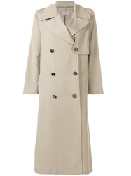 Alberto Biani Double Breasted Trench Coat Nude And Neutrals