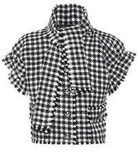 Dolce And Gabbana Houndstooth Cropped Jacket Black