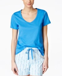 Charter Club Cotton Pajama Top Only At Macy's Palace Blue