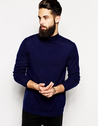 Asos Merino Turtle Neck Jumper Navy