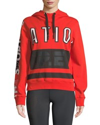 P.E Nation Free Hit Hooded Logo Pullover Sweatshirt Red