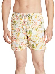 Saks Fifth Avenue Collection Retro Tropical Printed Swim Trunks Clear Yellow