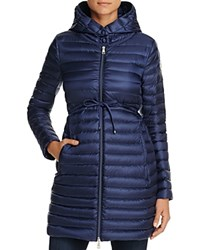 Moncler Barbel Long Down Coat Pop Navy