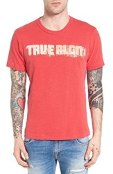 True Religion Men's Brand Jeans Football Stitch Graphic T Shirt Ruby Red