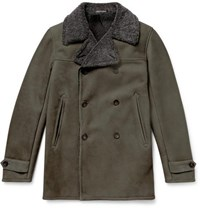 Richard James Double Breasted Shearling Coat Gray Green