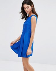 Pussycat London Skater Dress With Pleat Skirt Blue