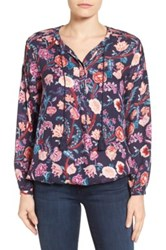 Lucky Brand Tassel Tie Floral Print Blouse Blue