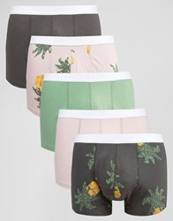 Asos Trunks With Digital Pineapple Print 5 Pack Save 28 Multi