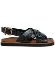 Tod's Crossover Strap Sandals Black