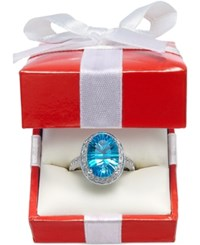 Macy's Blue Topaz 6 Ct. T.W. And Diamond 1 3 Ct. T.W. Ring In 14K White Gold