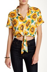 American Apparel Printed Tie Front Blouse Yellow