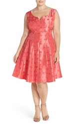 Plus Size Women's Taylor Dresses Notch Neck Eyelet Shantung Fit And Flare Dress