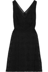 Donna Karan Woman Organza Trimmed Embroidered Tulle Dress Black