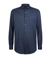Pal Zileri Mini Pique Jersey Shirt Male Navy