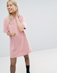 Asos New Polo Mini Shift Dress In Pique Fabric Pink