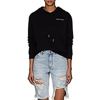 Off White C O Virgil Abloh Logo Embroidered Cotton Crop Hoodie Black
