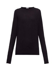 Raey Sheer Raw Edge Crew Neck Cashmere Sweater Navy
