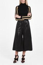 Bonnie Young Leather Gaucho Culottes Black