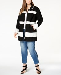 Inc International Concepts Plus Size Mixed Media Striped Jacket Created For Macy's Deep Black