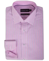 Double Two 100 Cotton Contrast Stripe Formal Shirt Pale Pink