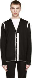 Mcq By Alexander Mcqueen Black And White Colour Tip Cardigan