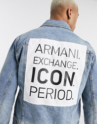 Armani Exchange Icon Denim Jacket With Back Detail In Mid Wash Blue