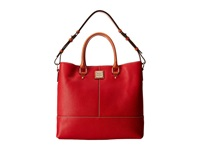 Dooney And Bourke Pebble Leather Chelsea Shopper Red W Tan Trim Tote Handbags
