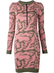 Julien David Front Zip Abstract Print Dress Pink And Purple