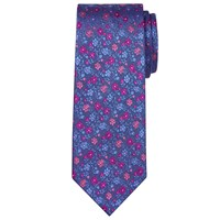 Chester Barrie By Floral Silk Tie Blue Pink
