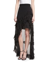 Alice Olivia Lavera Layered Ruffle High Low Maxi Skirt Black